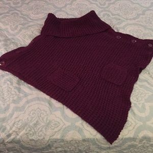 Turtle Neck Knitted Poncho With Pocket (one size)